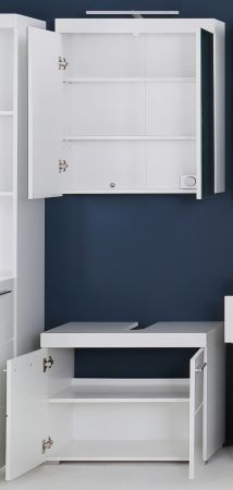 Badezimmer Badmöbel Set Amanda Hochglanz weiß Badkombination 2-teilig 60 x 190 cm