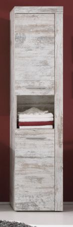 Badezimmer Hochschrank Cancun Canyon Pinie weiß Shabby / Vintage 36 x 184 cm