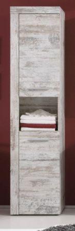 Badmöbel Hochschrank Cancun in Canyon Pinie weiß Shabby chic Badschrank Vintage 36 x 184 cm Badezimmer