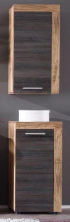 Badezimmer Unterschrank Cancun in Nussbaum Satin und Touchwood dunkelbraun Badmöbel 36 x 81 cm Kommode