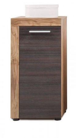 Badezimmer Unterschrank Cancun in Nussbaum Satin und Touchwood dunkelbraun Bad Kommode 36 x 79 cm