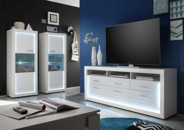 TV-Lowboard Starlight weiß Hochglanz Rillenoptik mit LED-Beleuchtung Fernsehtisch 180 cm Komforthöhe