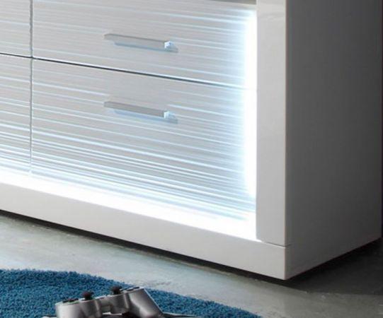 Wohnwand Schrankwand Starlight weiß Hochglanz mit Rillenoptik inklusive LED-Beleuchtung