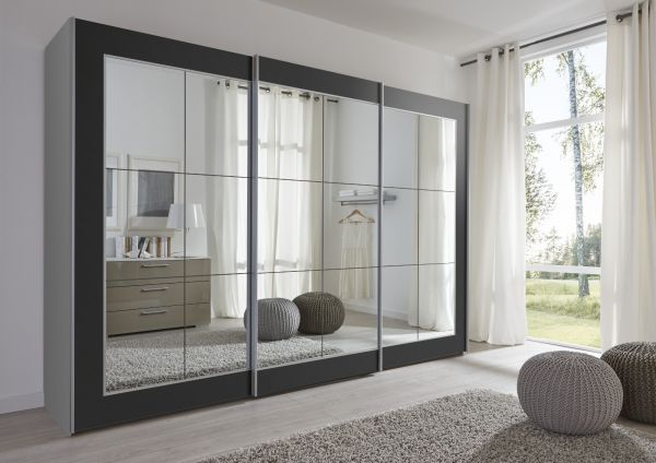 Schwebetürenschrank Kleiderschrank Dekor schwarz Spiegelglas Breite 301 cm