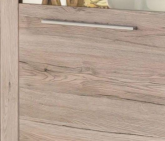 Hochschrank Vitrinenschrank Passat Eiche Sand opt. mit LED Beleuchtung 67 x 201 cm