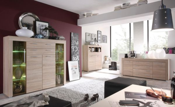 "Wohnzimmer: Highboard ""Boom"" Sonoma Eiche sägerau, hell (160x137 cm) inkl. LED-Beleuchtung"