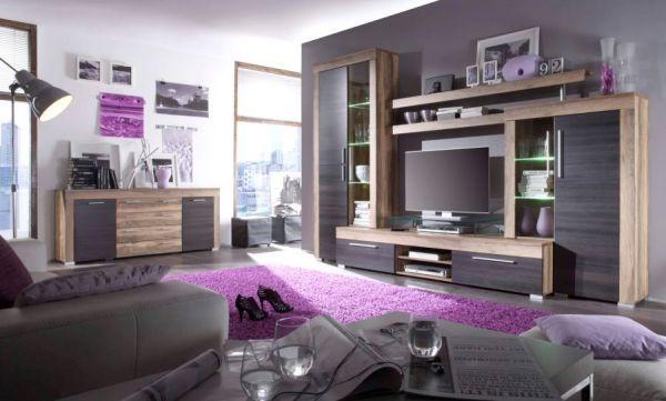 """Wohnzimmer: Highboard """"Boom"""" Nussbaum Satin, Touchwood dunkelbraun (120x137 cm)"""