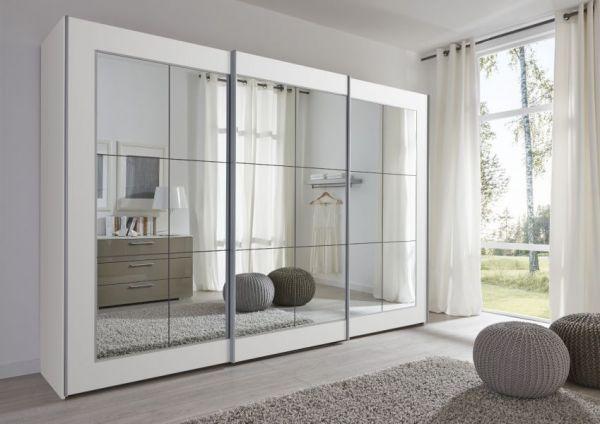 Schwebetürenschrank Kleiderschrank Dekor weiß Walnuss Spiegelglas Breite 301 cm