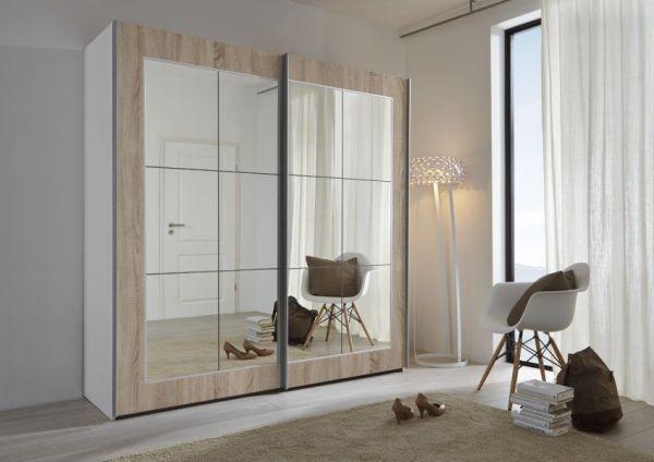 Schwebetürenschrank Kleiderschrank Dekor weiß Spiegelglas Breite 202 cm