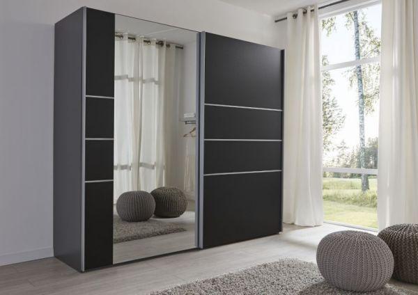 Schwebetürenschrank Kleiderschrank Dekor schwarz Spiegel Breite 236 cm