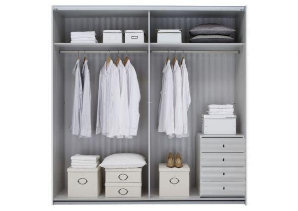 Schwebetürenschrank Kleiderschrank Dekor weiß grau Breite 202 cm
