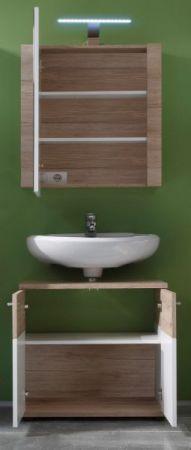"""Badmöbel Set """"Campus"""" in Eiche San Remo hell und weiß Badkombination mit Waschbeckenunterschrank und Spiegelschrank"""