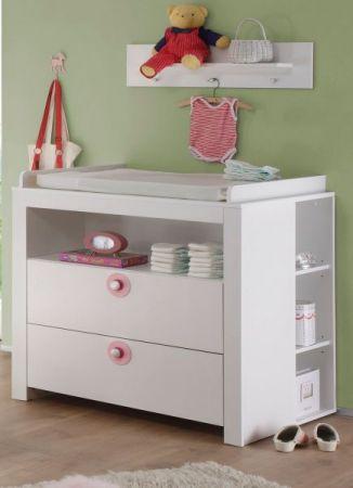 Babyzimmer Wickelkommode Olivia Set mit 2 Regalen weiß mit rosa 96 x 111 x 69 cm 3 teilig