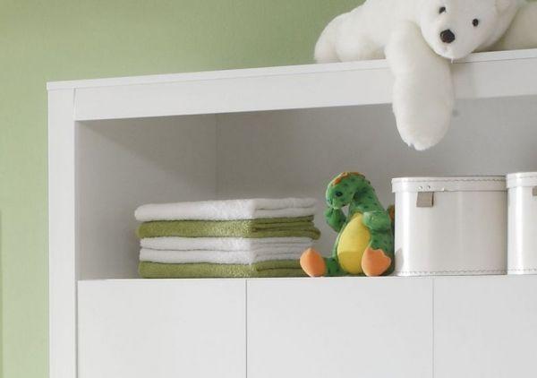 Babyzimmer Kleiderschrank Olivia weiß Applikationen blau 130 x 186 x 54 cm