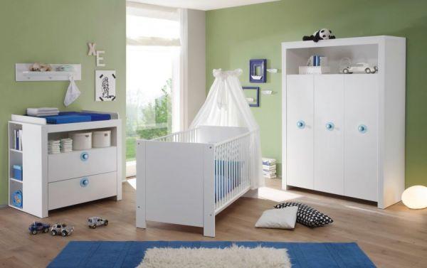 Baby- und Kinderzimmer Kleiderschrank Olivia in weiß und blau 3-türig 130 x 186 cm