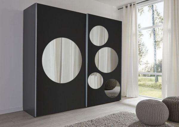 Schwebetürenschrank Kleiderschrank Dekor schwarz Spiegel rund Kreise Breite 236 cm