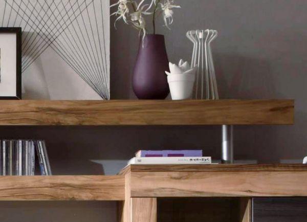 """Wohnzimmer: Wohnwand """"Boom"""" Nussbaum Satin, Touchwood dunkelbraun (308x212 cm) inkl. LED-Beleuchtung"""