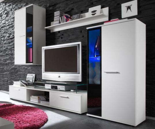 """Wohnzimmer: Wohnwand """"Salsa"""" weiß mit schwarz (241 x 180 cm) inkl. LED-Beleuchtung"""