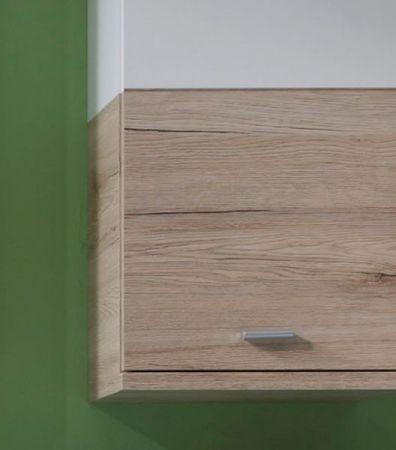 """Badezimmer Hängeschrank """"Campus"""" in Eiche San Remo hell und weiß Badschrank hängend 36 x 79 cm"""