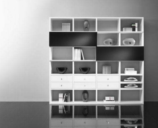 Wohnwand Bücherwand Lack weiß Hochglanz / schwarz Hochglanz