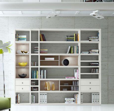 Wohnwand Bücherwand MDor Dekor Lack weiß Hochglanz LED-Beleuchtung Breite 420 cm