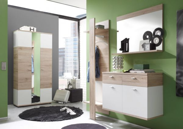 Garderobe Flurgarderobe Campus Set 3-teilig San Remo Eiche hell und weiß Breite 150 cm