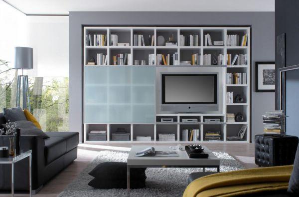 Wohnwand Bücherwand Lack weiß Hochglanz mit TV-Fach und Schiebetür satiniert