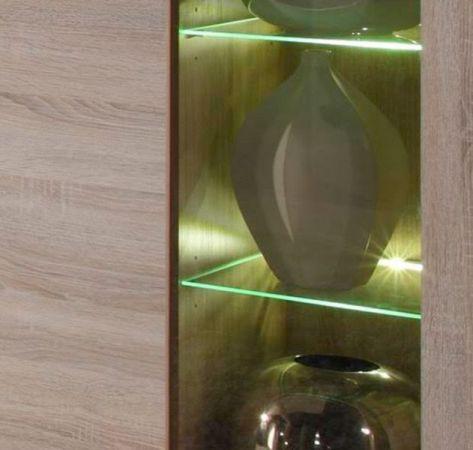Vitrine Vitrinenschrank Boom Eiche Sonoma hell inkl. LED Beleuchtung 89 x 210 cm