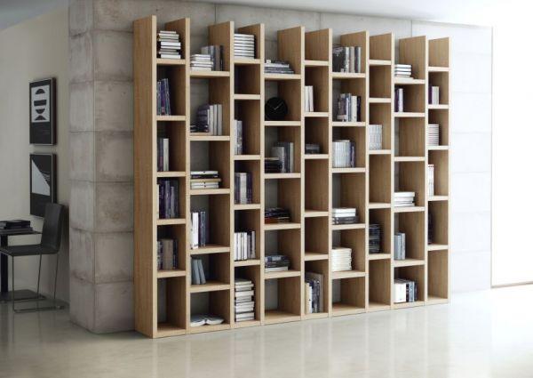 Wohnwand Bücherwand Dekor Eiche Natur mit Schiebetüren