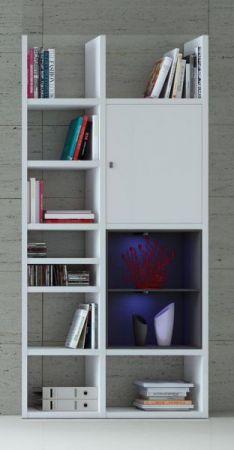 Bücherregal Bücherwand Dekor Lack weiß Hochglanz Eiche Natur LED-Beleuchtung Breite 108 cm