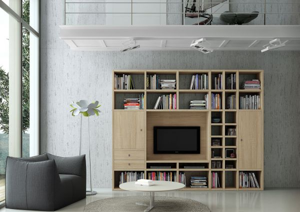 Wohnwand Bücherwand Lack weiß Hochglanz mit TV-Fach und Schiebetür schwarz