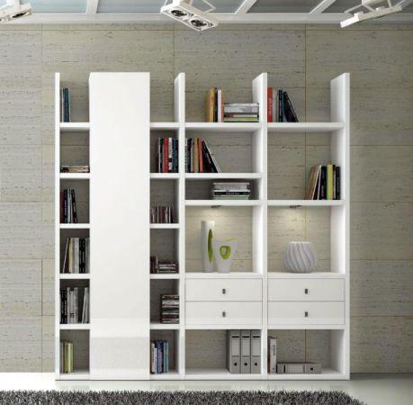Wohnwand Bücherwand Lack weiß Hochglanz mit Schiebetüren