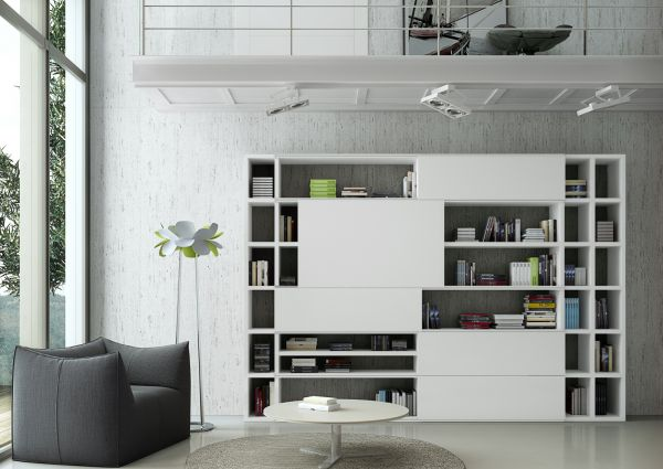 Wohnwand Bücherwand Lack weiß matt mit Glas satiniert