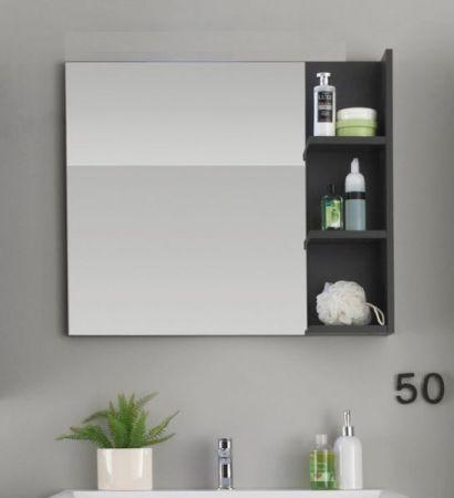 Badspiegel Wandspiegel Beach 80 cm in grau mit Regal / Ablagen
