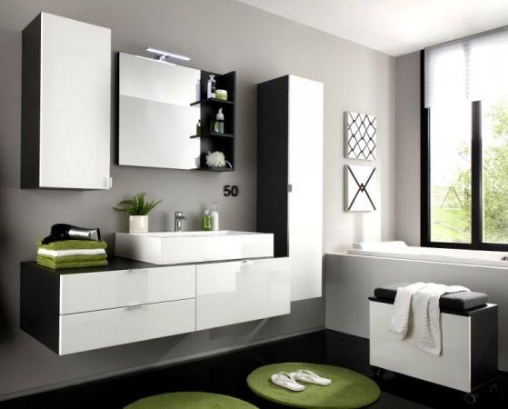 """Waschtisch mit Waschbecken """"Beach"""" Hochglanz weiß Waschbeckenunterschrank (140x50 cm)"""