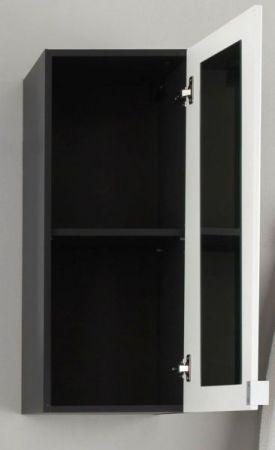 """Badezimmer: Hängeschrank """"Beach"""" Hochglanz weiß, grau (35 x 83 cm) mit Spiegel innen"""