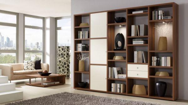 Wohnwand Bücherwand Lack weiß matt