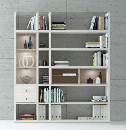Wohnwand Bücherwand Lack weiß Hochglanz mit TV-Unterteil und Kommode