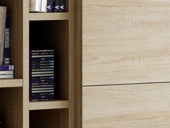 Wohnwand Bücherwand Dekor Eiche Natur mit TV-Unterteil und Kommode