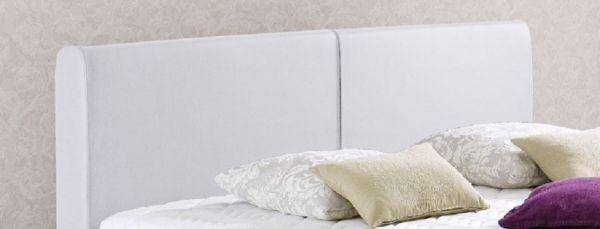 Boxspringbett Amondo 140 x 200 cm Leder Optik weiß 5-Gang-Bonell Federkern Matratze