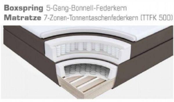 Boxspringbett Amondo 140 x 200 cm Leder Optik braun 7 Zonen Tonnentaschenfederkern Matratze