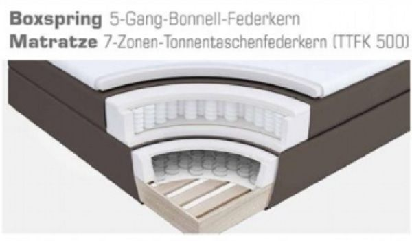 Boxspringbett Amondo 180 x 200 cm Leder Optik braun 7 Zonen Tonnentaschenfederkern