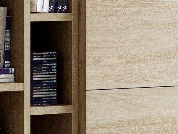 Wohnwand Bücherwand Dekor Eiche Natur mit Kommode