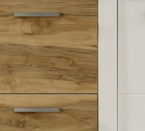 Wohnwand Toronto in Anderson Pinie weiß mit Nussbaum Satin Schrankwand 340 x 210 cm