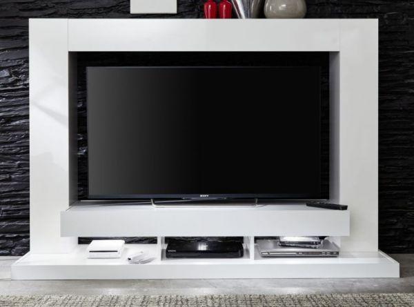 """Wohnzimmer: Medienwand Hochglanz weiß (165 x 125 cm) für TVs bis ca. 55"""""""