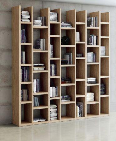 Bücherwand Bibliothek Lack weiß Hochglanz