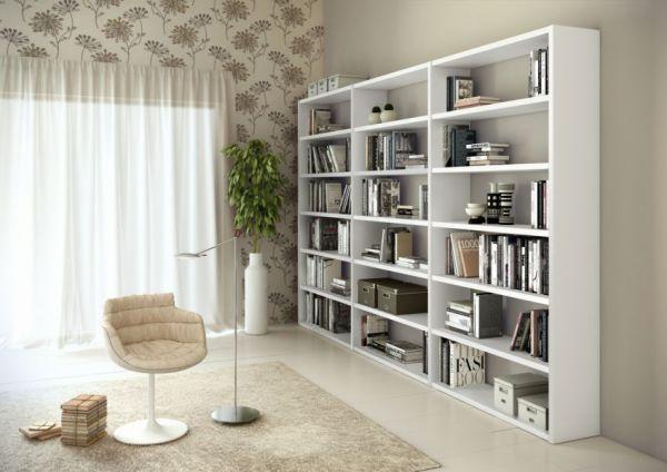 Bücherwand Bücherregal Raumteiler Lack weiß matt