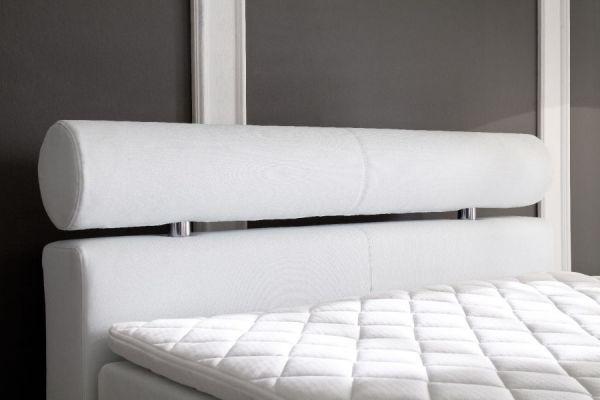Boxspringbett Onella 180 x 200 cm Leder Optik weiß 5-Gang-Bonell Federkern Matratze