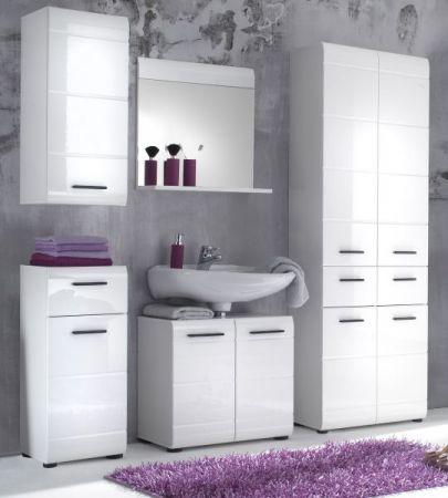 Badmöbel Set Skin in Hochglanz weiß Badkombination 5-teilig Badezimmer 200 x 182 cm