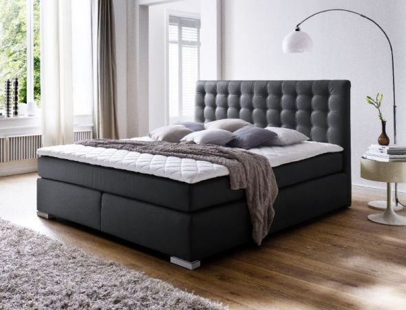 boxspringbett isabelle schwarz 200cm x 200cm. Black Bedroom Furniture Sets. Home Design Ideas